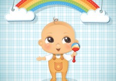 Free vector Baby boy illustration and a rainbow #5201