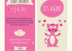 Free vector Baby shower card with a lovely cat #9278