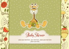 Free vector Baby shower card with baby giraffe and floral background #4022