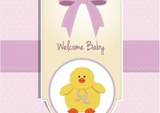 Free vector Baby shower card with cute chick #4337