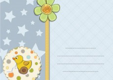 Free vector Baby shower card with toy duck, stars and flower #4020