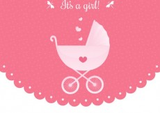 Free vector Baby shower invitation with a baby buggy #8295
