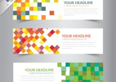 Free vector Banners with colorful pixels #5532