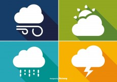 Free vector Basic Long Shadow Style Weather Icon Set #5434