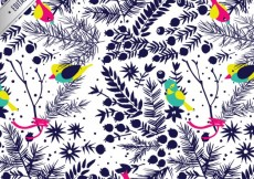 Free vector Birds and plants pattern #9833