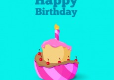 Free vector Birthday card with a illustrated cake #11695