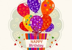 Free vector Birthday label with gift and balloons #9266