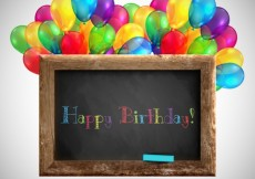 Free vector Blackboard with balloons for birthday #8707