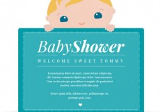 Free vector Blue greeting card for baby shower #8297