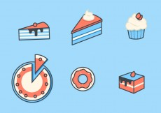 Free vector Cake and Dessert Vector Icon Set #10588