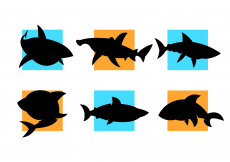 Free vector Cartooned Sharks Silhouettes Vector Free #3991
