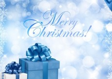 Free vector Christmas Blue Background with Gift Box and Snowflake #5653
