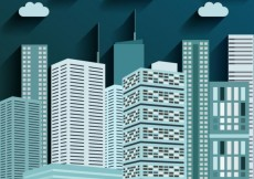 Free vector City buildings in blue color #5283