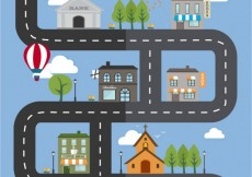 Free vector City streets in cartoon style #11142