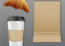 Free vector Coffee and croissant for take away #6167