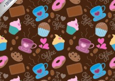 Free vector Coffee and sweets pattern #9518