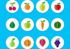 Free vector Colorful fruit icons #10289