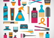 Free vector Colorful hairdressing icons #7585