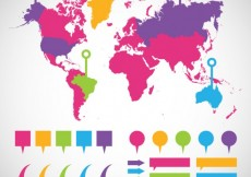 Free vector Colorful world map infographic #4209