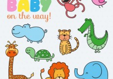 Free vector Cute animals for baby #7529