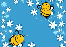 Free vector Cute Bee Blue Background #5516