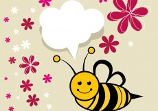 Free vector Cute Bee Vector with Flowers #5452