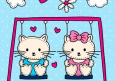 Free vector Cute cats on the swing #9949