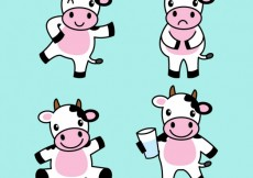 Free vector Cute cow illustrations #7051