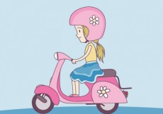 Free vector Cute girl with scooter #9328