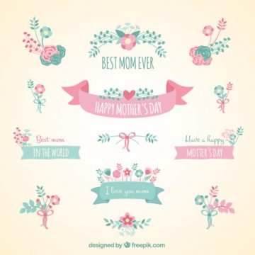 Free vector Cute ribbon banners for mothers day #10988