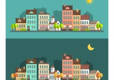 Free vector Day and night cityscape #7663