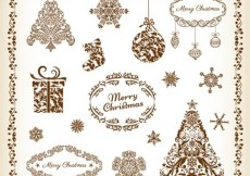 Free vector Decorative Floral Elements for Christmas Vector Set #4618