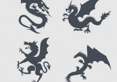 Free vector Dragons silhouettes collection #8899