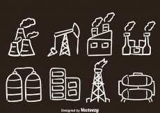 Free vector Factory Hand Drawn Vector Icons #10148