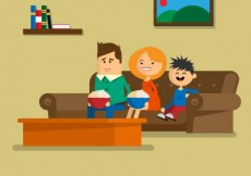 Free vector Family sitting on the sofa #5470