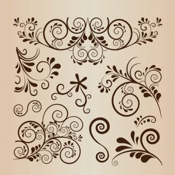 Free vector Floral Swirl Decoration Vector Element Collection #4992
