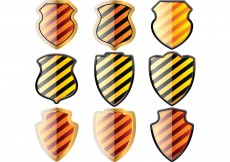 Free vector Free set of of shields in black and yellow stripes #8794