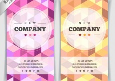 Free vector Geometric business cards in pink and yellow tones #6314