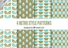 Free vector Geometric retro patterns in blue and green tones #11837