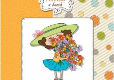 Free vector Girl with a flower bouquet greeting card #4307