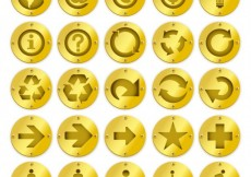 Free vector Golden badges with icons #4993