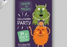 Free vector Halloween flyer with monsters #10609