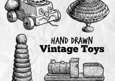 Free vector Hand drawn vintage toys #5031