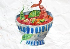 Free vector Hand painted bowl of soup #4885