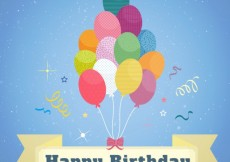 Free vector Happy birthday card with colorful balloons #10888
