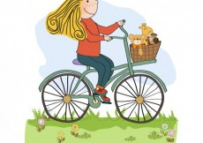Free vector Happy girl riding a bike #3990