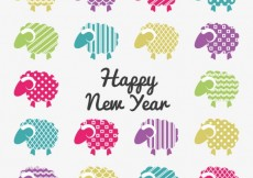 Free vector Happy new year card with colorful goats #7223