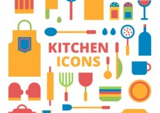 Free vector Kitchen icons #7033