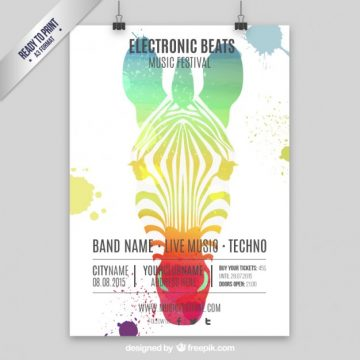Free vector Music poster with hand painted zebra #4349