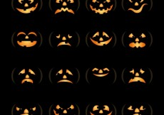 Free vector Pumpkin face collection #8029
